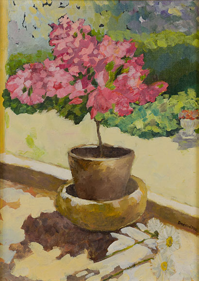 Vase with flowers (2000) - Oil on canvas panel - 40x30 cm