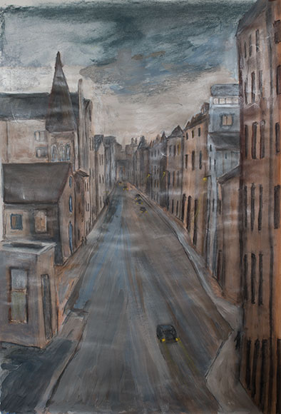 Edinburgh Street Scene (2016)Mixed media on paper - 81x55 cm