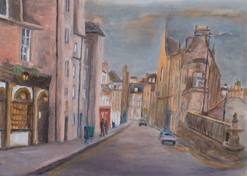 Edinburgh Street Scene (2016) - Poi on paper - 32x45 cm