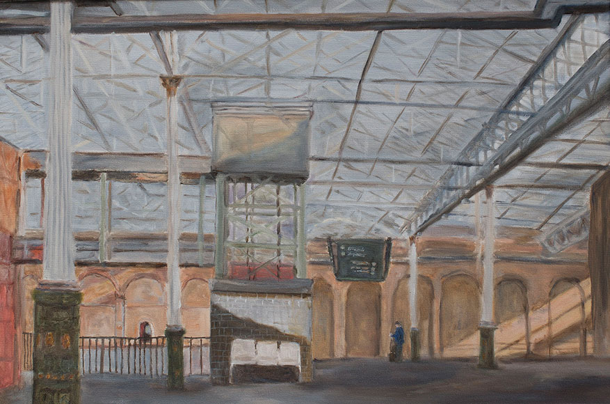Interior of Edinburgh Waverley Station (2016) - Oil on canvas - 40x60 cm