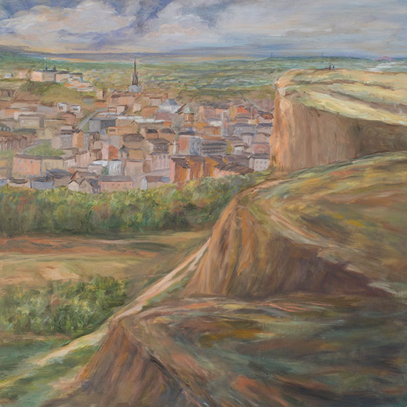 View of Edinburgh from Arthur's Seat (2016)Oli on wood - 60x60 cm