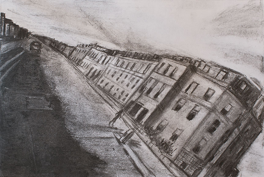 Albany Street, Edinburgh (2017) - Charcoal on paper - 25x36,5 cm