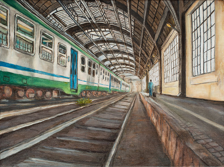 Milan Central Station (2017) - Oil on canvas - 30x40 cm