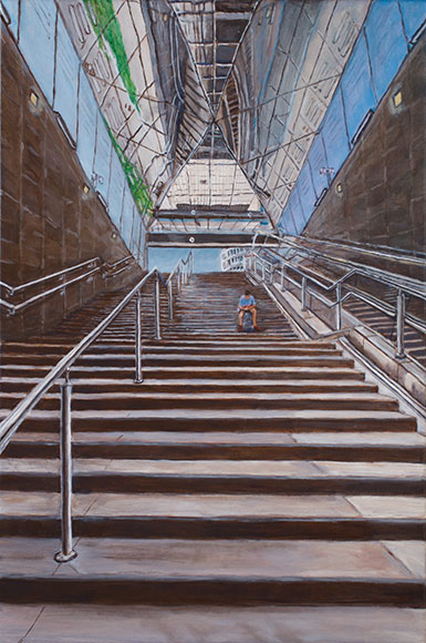 Entrance of underground station, Brescia (2017)Oil on canvas - 40x60 cm